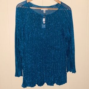 NWT DressBarn Teal Sparkle Knit Bling Blouse